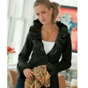 Soft Surroundings Black Parisian Jacket Wool Blend